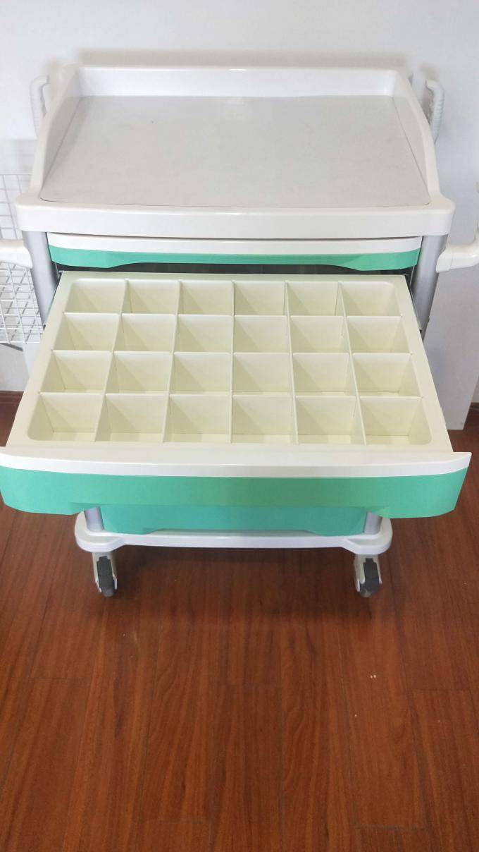 Aluminum Alloy Frame ABS Emergency Trolley Instruments Green Color With Center Lock Drug Delivery Cart