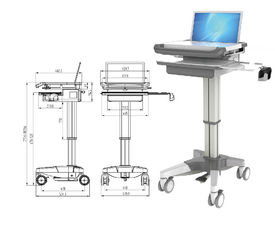 China Hospital Notebook Rolling Desktop Computer Cart , ABS Mobile Laptop Cart Medical supplier