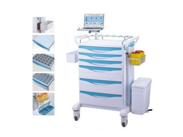 Plastic Body Medical Trolley Cart With Trash Can Two Deep Drawers Easy Installation