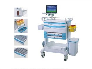 China Tablet Mobile Medical Trolley With Drawers Hospital Plastic Anesthesia Trolley With Storage Box supplier