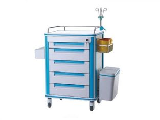 China Mute Wheel Anesthesia Hospital Medicine Trolley , Aluminum Alloy Frame Emergency Crash Cart supplier