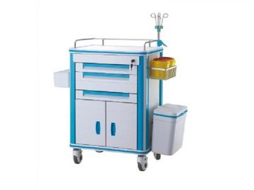 Hospital ABS Medical Emergency Trolley Medical Trolley Equipment With I.V Pole