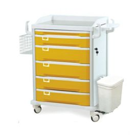 China Yellow ABS Mobile Medical Trolley Cart Hospital Emergency Ward With Aluminum Alloy Frame supplier