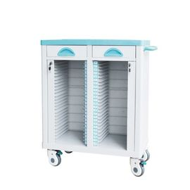 China ABS Patient Records Medical Storage Trolley Green Blue 470*410*880mm Silent Wheels supplier