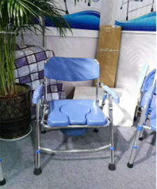 China Chrome Steel Adjustable Bath Seat Folding Backrest Toilet Commode Chair For Elderly supplier