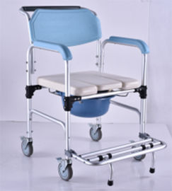 China Elderly Adjustable Bath Seat Chrome Steel Folding Backrest Toilet Commode Chair supplier