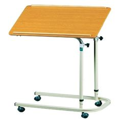 Adjustable Height Hospital Tray Table On Wheels Steel With Total Width 40cm