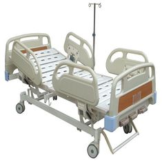 China ISO / CE Manual Hospital Adjustable Beds for Home With Three Cranks 4pcs Central Controlled Castors supplier