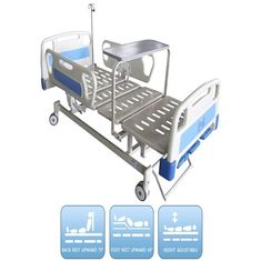 China Three Functions Manual Hospital Bed With Dinning Panel 3 Kinds Of Optional Parts supplier