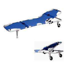 Portable Double-Folded Rescue Transfer Stretcher With Wheels For Emergency