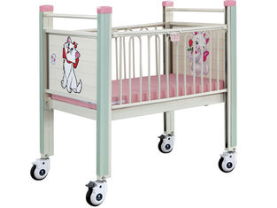 Pink Cartoon Movable Baby Bed , Steel Epoxy Baby Care Bed With Castor hospital baby bed hospital infant bed