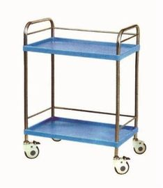 Two Layer Stainless Steel Surgical Cart Medical Instrument Trolley With Rail