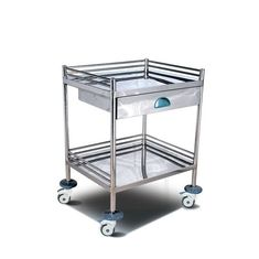 China Stainless Tool Cabinet Worktable Medical Instrument Trolley With Double Flat Plate supplier