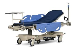 China Long Life Hospital Patient Emergency Stretcher Trolley Blue / Orange Color supplier
