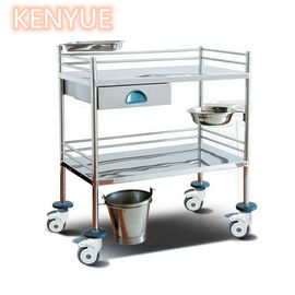 Stainless Steel Two Layers Hospital Treatment Trolley / Medicine Crash Cart