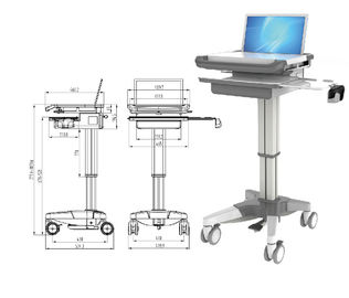 Hospital Notebook Rolling Desktop Computer Cart , ABS Mobile Laptop Cart Medical