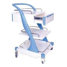 Aluminum Alloy Frame Medical Instrument Trolley Bule Red With Four Silent Castors
