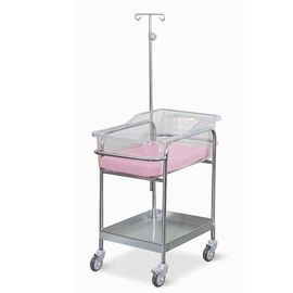 High Strength Movable Hospital Baby Crib Stainless Steel With Infusion Stand Mattress