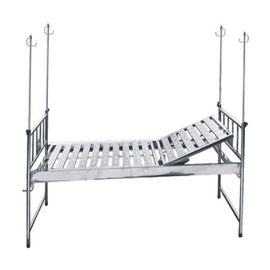 Single Function Manual Hospital Bed Stainless Steel Bed Frame And Back Panel