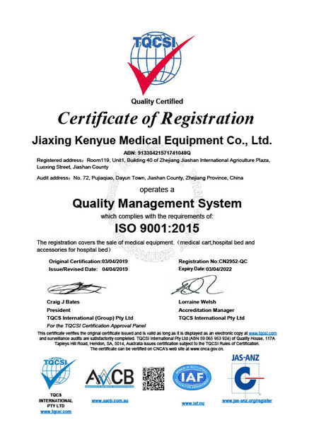 China Jiaxing Kenyue Medical Equipment Co., Ltd. Certification